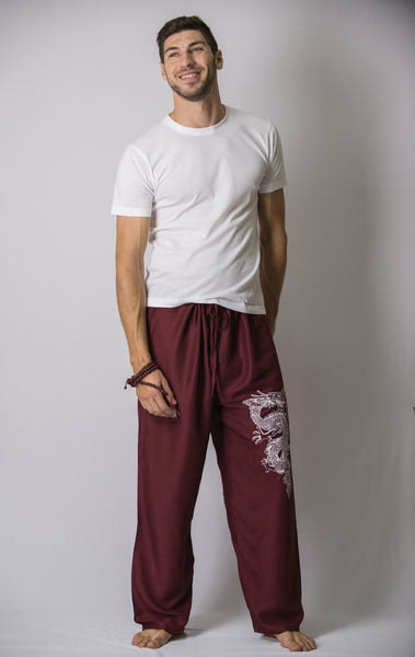 The Dragon Men's Thai Yoga Pants in Burgundy