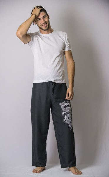 The Dragon Men's Thai Yoga Pants in Gray