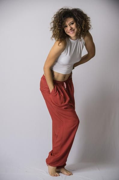 Solid Color Drawstring Women's Yoga Massage Pants in Red