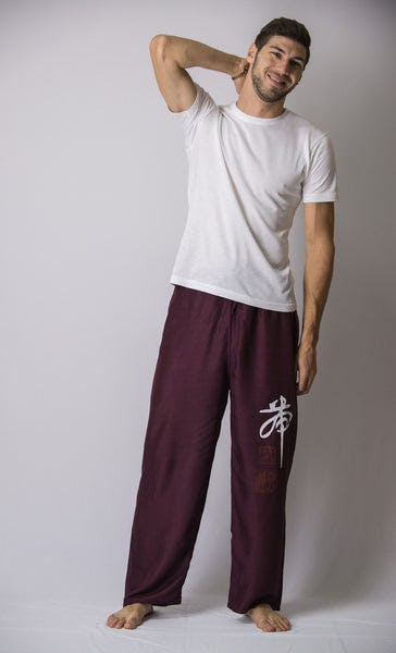 Chinese Writing Men's Thai Yoga Pants in Purple