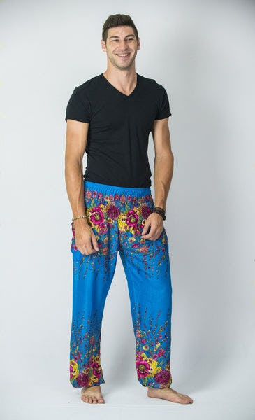 Floral Men's Harem Pants in Ocean Blue