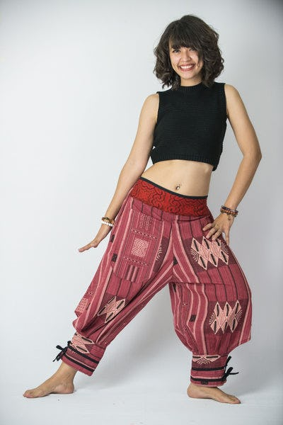 Thai Hill Tribe Fabric Women's Harem Pants with Ankle Straps in Red
