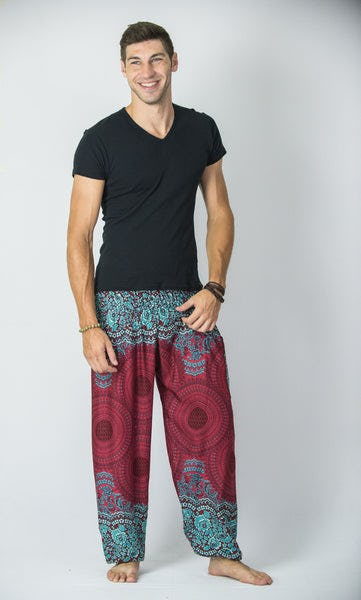 Geometric Mandalas Men's Harem Pants in Red