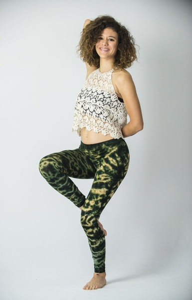 Marble Tie Dye Cotton Leggings in Green