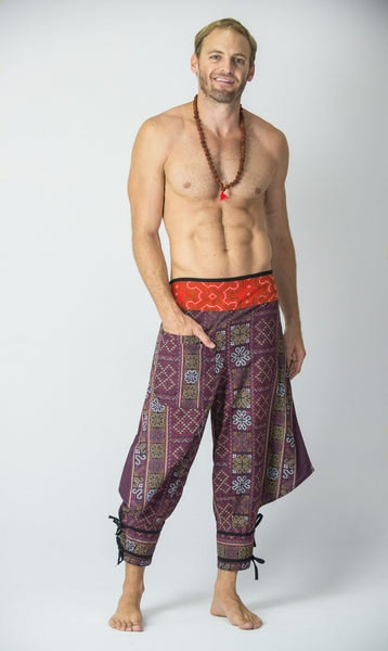 Clovers Thai Hill Tribe Fabric Men's Harem Pants with Ankle Straps in Plum