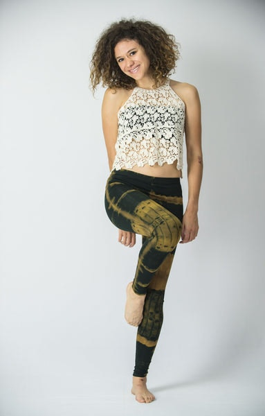 Patch Dye Tie Dye Cotton Legging in Greenish Black/Tan
