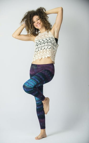 Patch Dye Tie Dye Cotton Leggings in Indigo