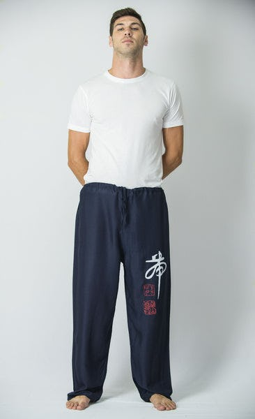 Chinese Writing Men's Thai Yoga Pants in Navy
