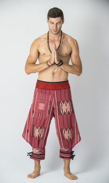 Thai Hill Tribe Fabric Men Harem Pants with Ankle Straps in Red