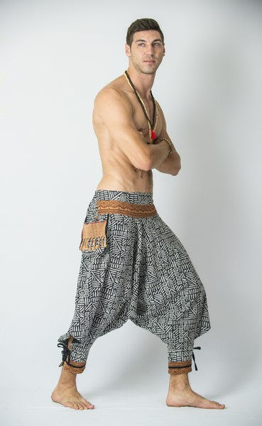 Woven Prints Thai Hill Tribe Fabric Men's Harem Pants with Ankle Straps in Black