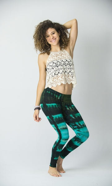 Patch Dye Tie Dye Cotton Leggings in Turquoise