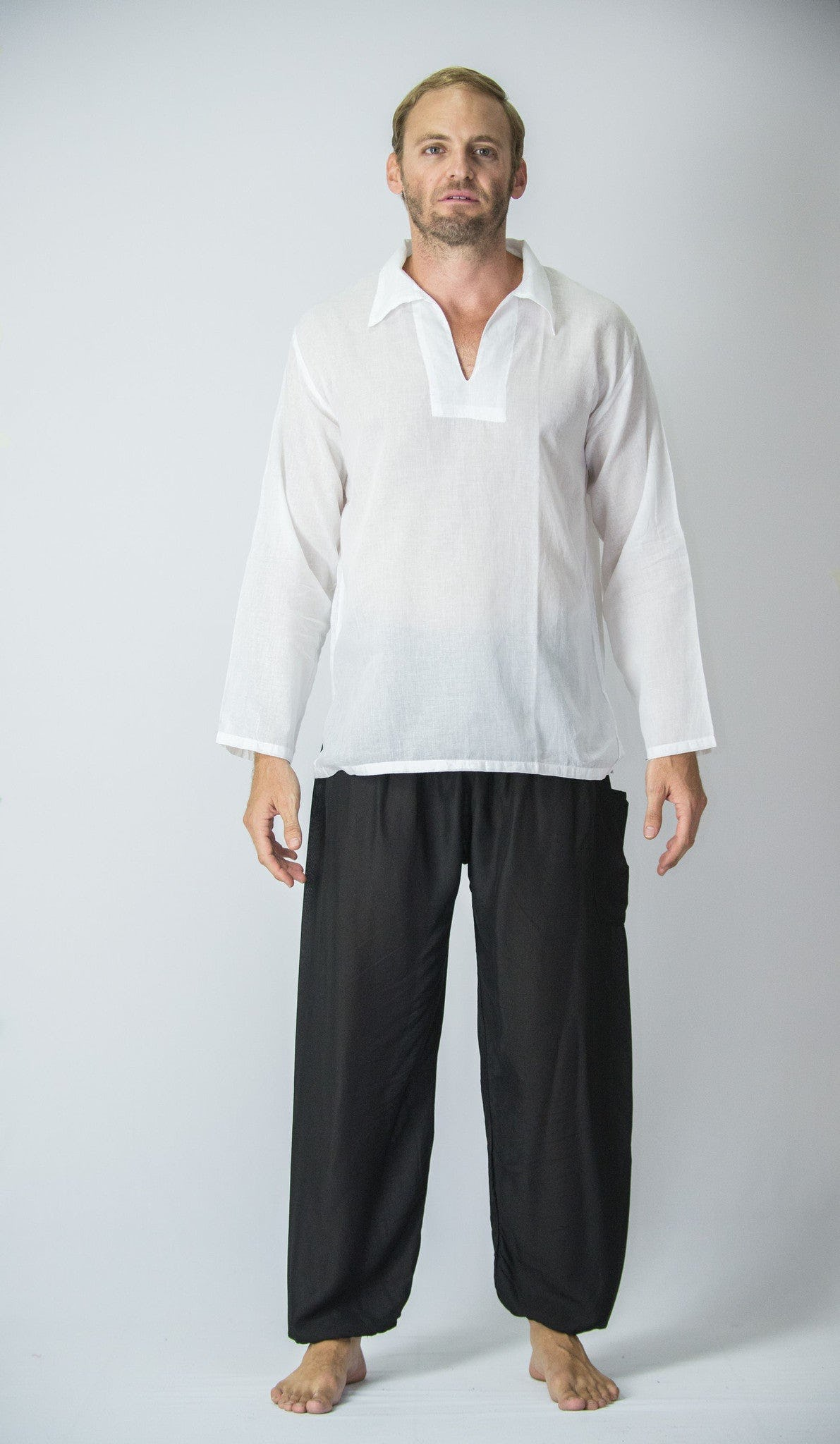 Mens Yoga Shirts Collar V Neck In White Harem Pants
