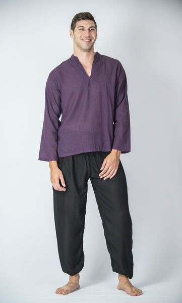 Mens Yoga Shirts Nehru Collared in Purple