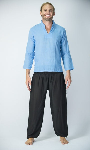 Mens Yoga Shirts Nehru Collared in Blue