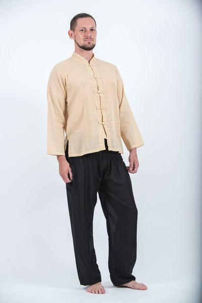 Mens Yoga Shirts Chinese Collared in Cream