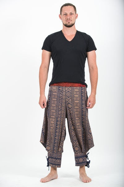 Thai Hill Tribe Fabric Men's Harem Pants with Ankle Straps in Navy Gold