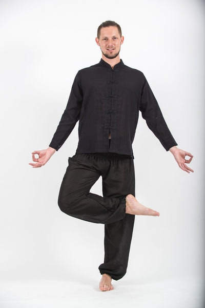 Mens Yoga Shirts Chinese Collared in Black