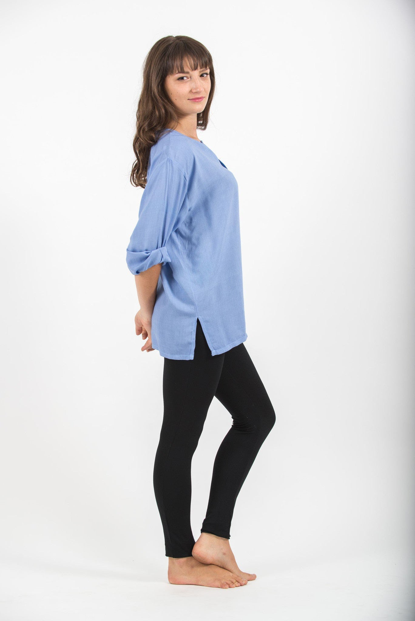 Womens Yoga Shirts No Collar with Coconut Buttons in Blue – Harem ...