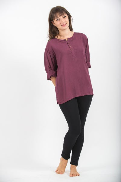 Womens Yoga Shirts No Collar with Coconut Buttons in Purple