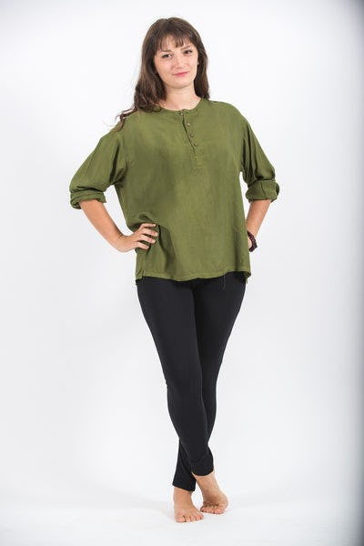 Womens Yoga Shirts No Collar with Coconut Buttons in Olive