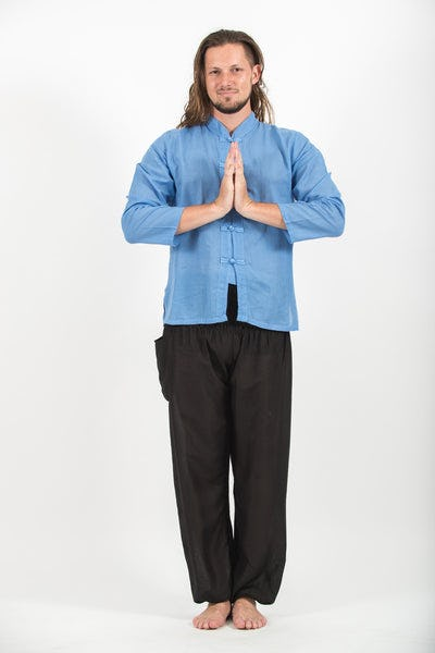 Mens Yoga Shirts Chinese Collared in Blue