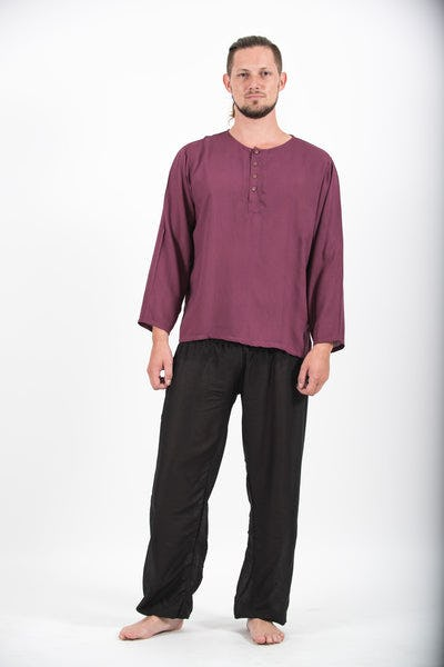 Mens Yoga Shirts No Collar with Coconut Buttons in Purple