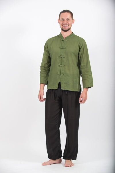 Mens Yoga Shirts Chinese Collared in Olive