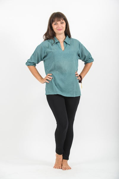 Womens Yoga Shirts Collar V Neck in Aqua