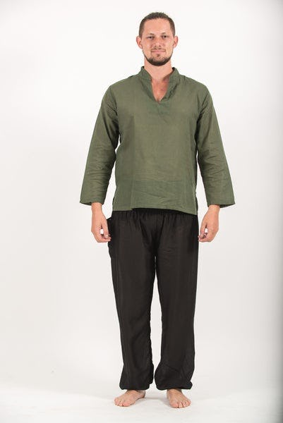 Mens Yoga Shirts Nehru Collared in Olive
