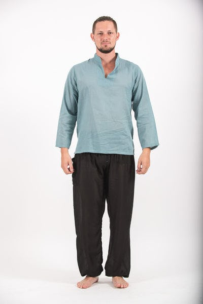 Mens Yoga Shirts Nehru Collared in Aqua