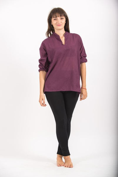 Womens Yoga Shirts Nehru Collared in Purple