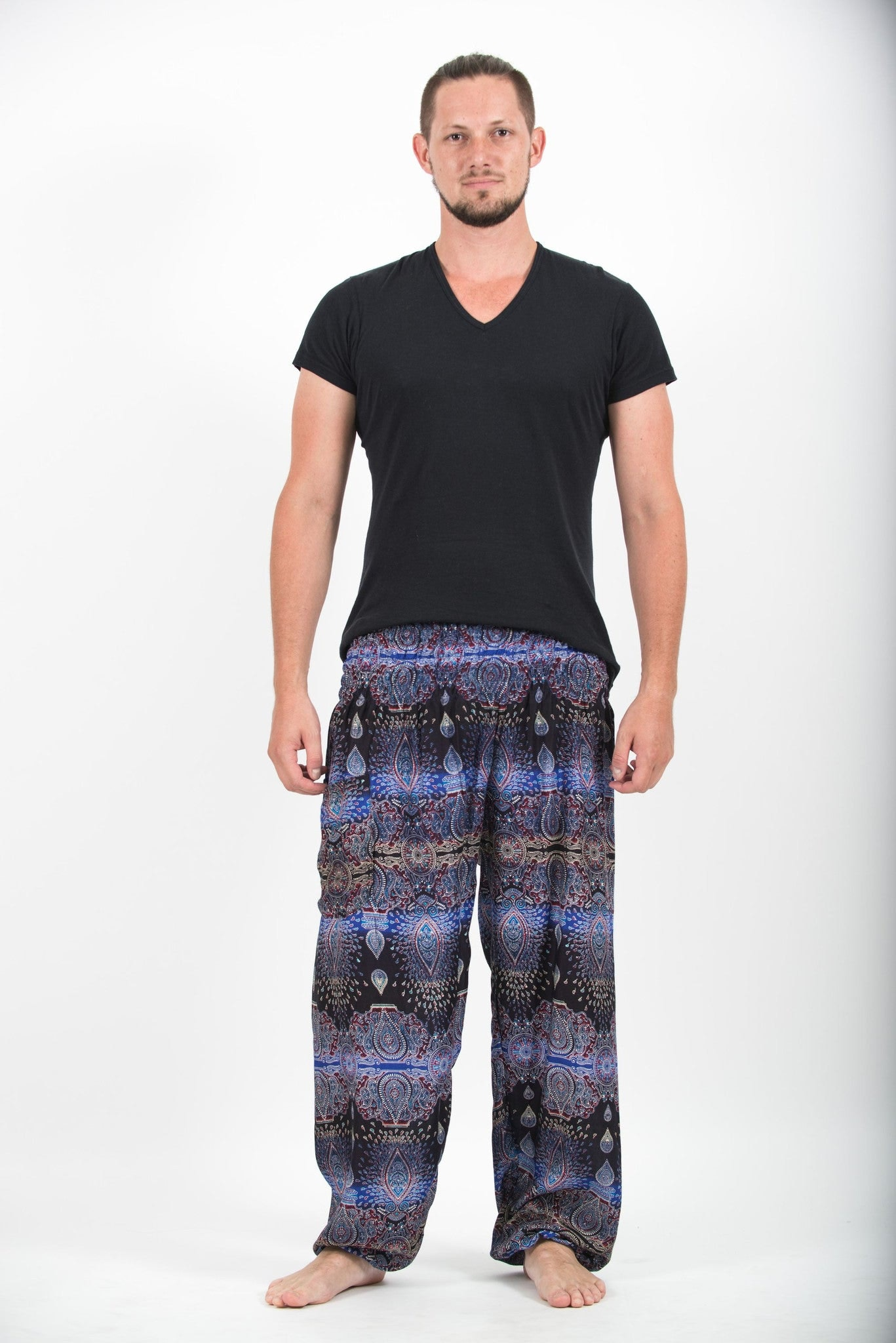 paisley mens harem pants in blue
