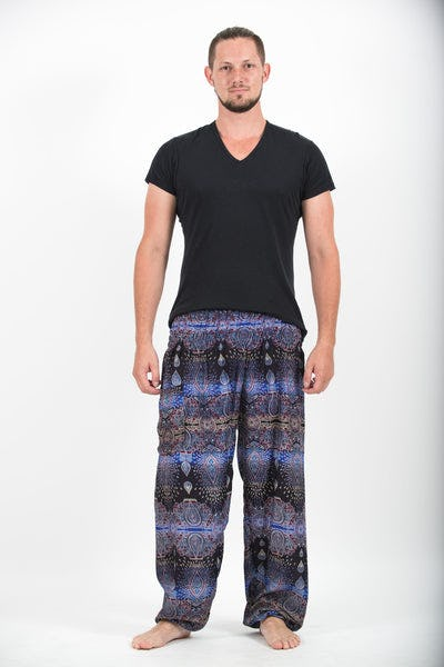 Paisley Men's Harem Pants in Blue