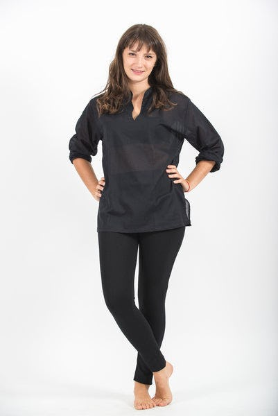 Womens Yoga Shirts Nehru Collared in Black