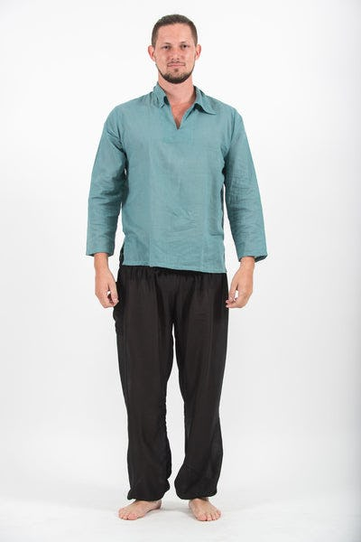 Mens Yoga Shirts Collar V Neck in Aqua