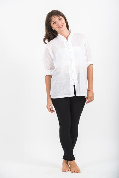 Womens Yoga Shirts Chinese Collared in White