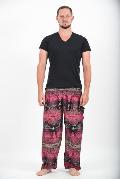 Paisley Men's Harem Pants in Pink
