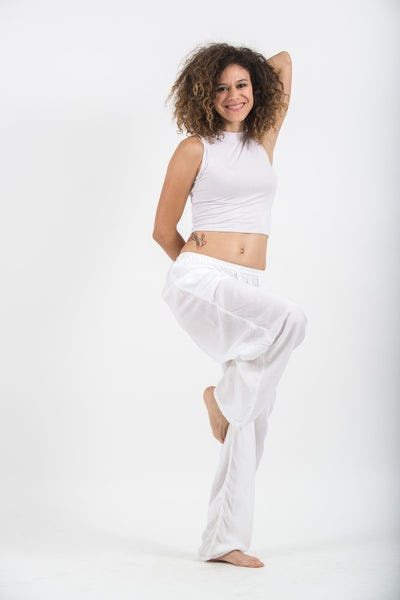 Solid Color Drawstring Women's Yoga Massage Pants in White