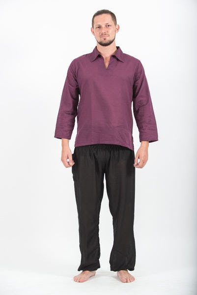 Mens Yoga Shirts Collar V Neck in Purple