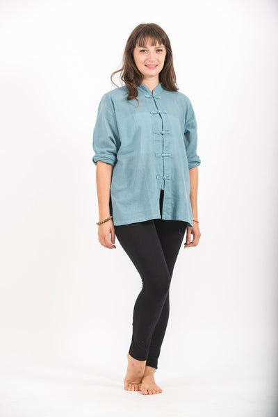 Womens Yoga Shirts Chinese Collared in Aqua
