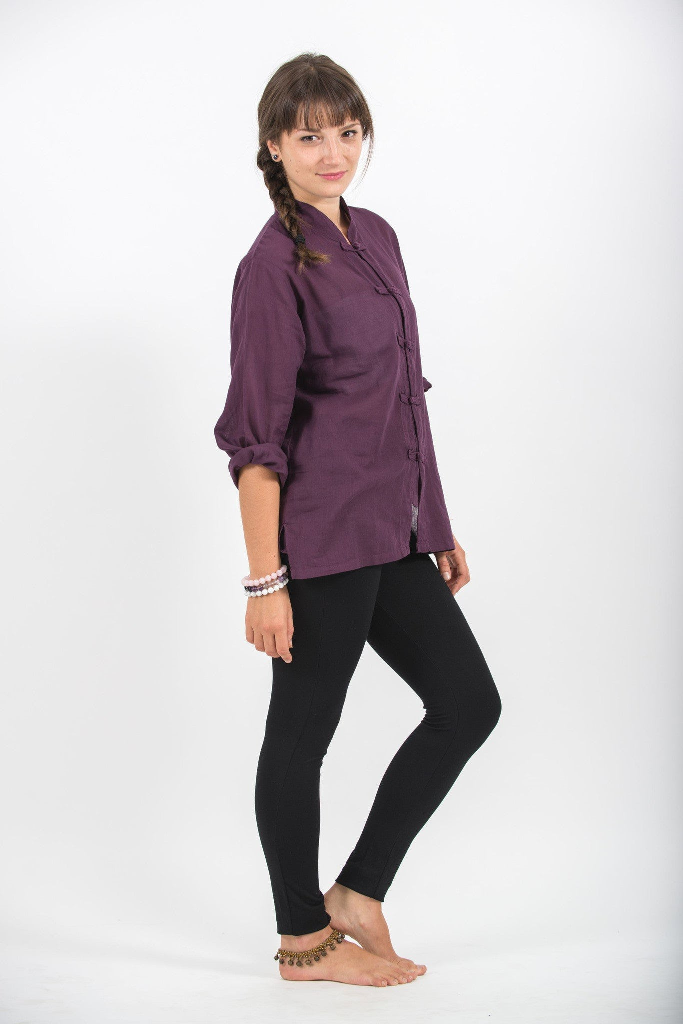 Womens Yoga Shirts Chinese Collared In Purple Harem Pants