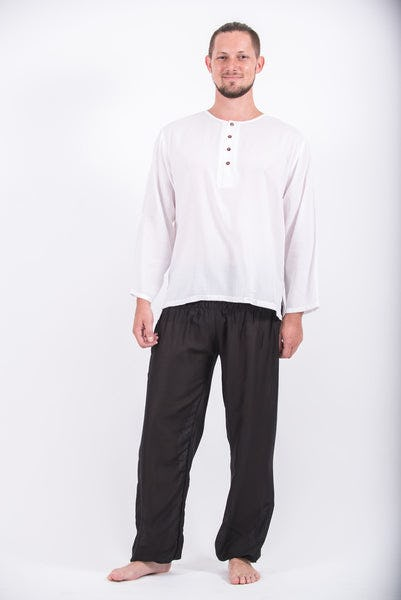 Mens Yoga Shirts No Collar with Coconut Buttons in White