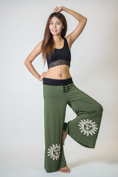 Wide Leg Palazzo Harem Pants Cotton Spandex Printed Sun Olive