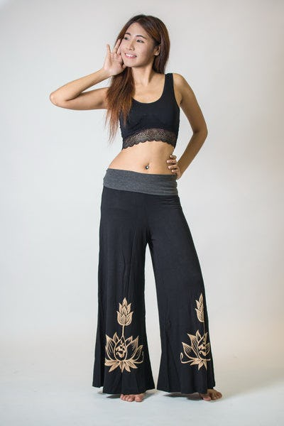 Wide Leg Palazzo Harem Pants Cotton Spandex Printed OM Bloom Black