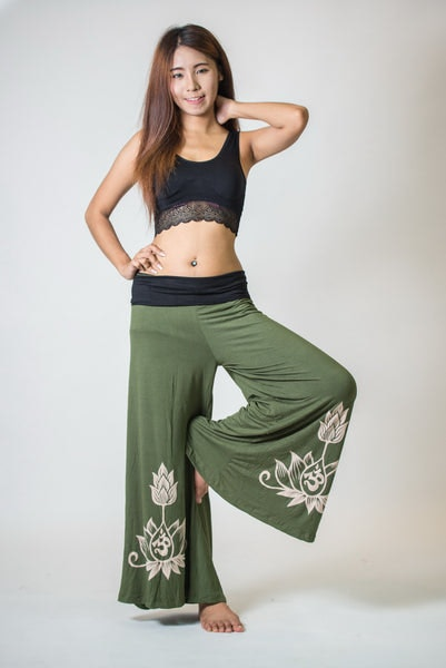 Wide Leg Palazzo Harem Pants Cotton Spandex Printed Om Bloom Olive