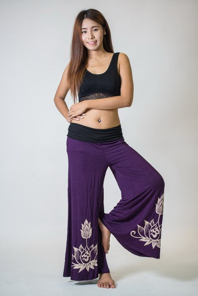 Wide Leg Palazzo Harem Pants Cotton Spandex Printed OM Lotus Purple