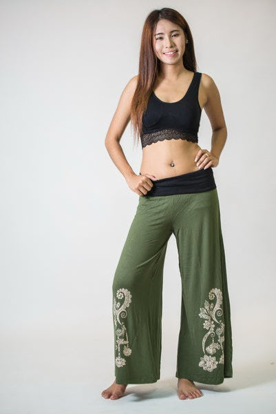 Wide Leg Palazzo Harem Pants Cotton Spandex Printed Paisley Flowers Olive