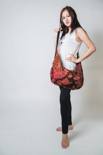 Hand Made Tie Dye Boho Day Bag Purse  Brown