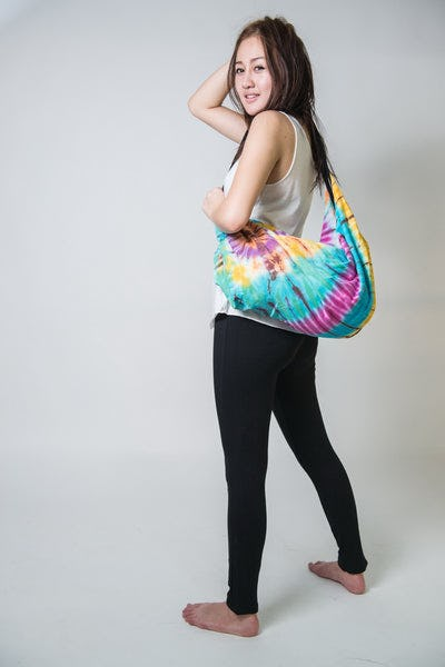 Hand Made Tie Dye Boho Day Bag Purse Turquoise Rainbow