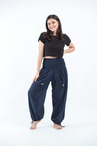 Women's Thai Smocked Waist Cotton Pants in Solid Navy